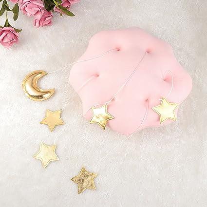 dise/ño de Estrellas y Luna para Colgar en el Techo M/óvil de Techo para Cuna TOYANDONA Nubes de Color Rosa y Estrellas Doradas decoraci/ón de la habitaci/ón de los ni/ños