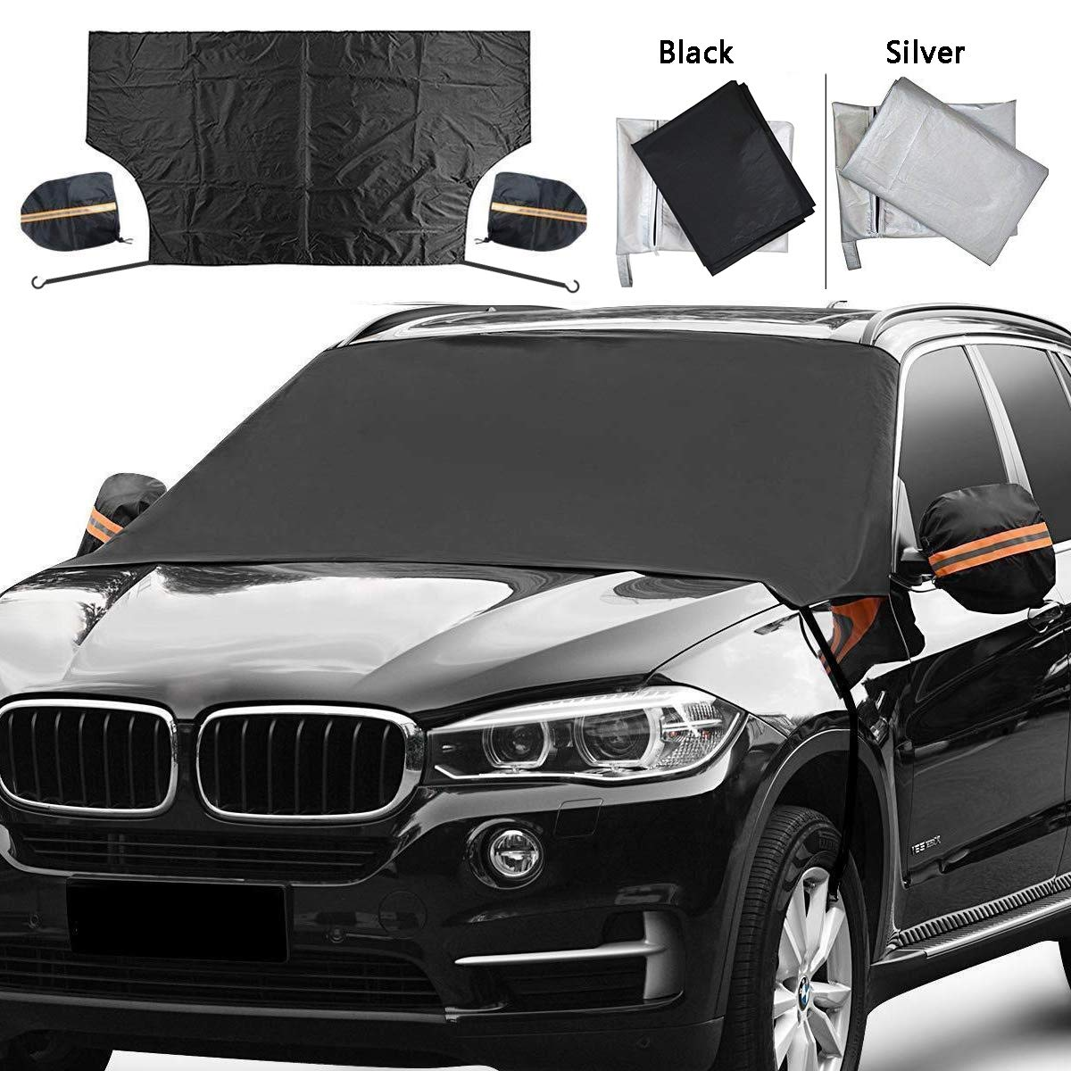 Rongbenyuan Windshield Snow Cover Windproof Sunshade Cover with Outside Mirror Cover for Cars and SUVs All Seasonable
