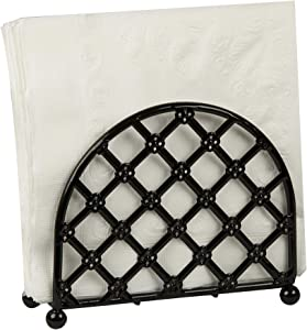 "Home Basics Steel Heavyweight Lattice Collection Napkin Holder , Black Finish , 5.5""x5""x2.5"""