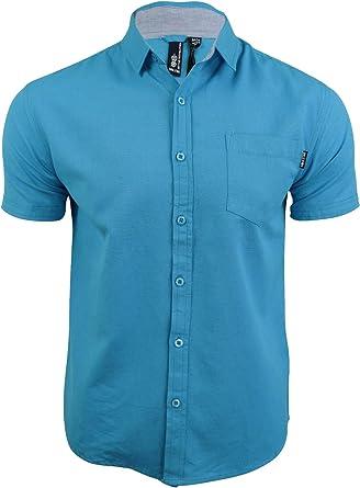 Soulstar Cotlin Camisa de algodón con botones para hombre, manga corta transpirable Turquesa turquesa Tamaño-S-91 cm- 97 cm Pecho: Amazon.es: Ropa y accesorios