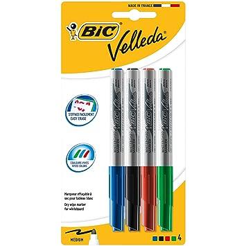 BIC Velleda 1741 - Blíster de 4 unidades, marcadores de pizarra punta media (4,5 mm), colores surtidos