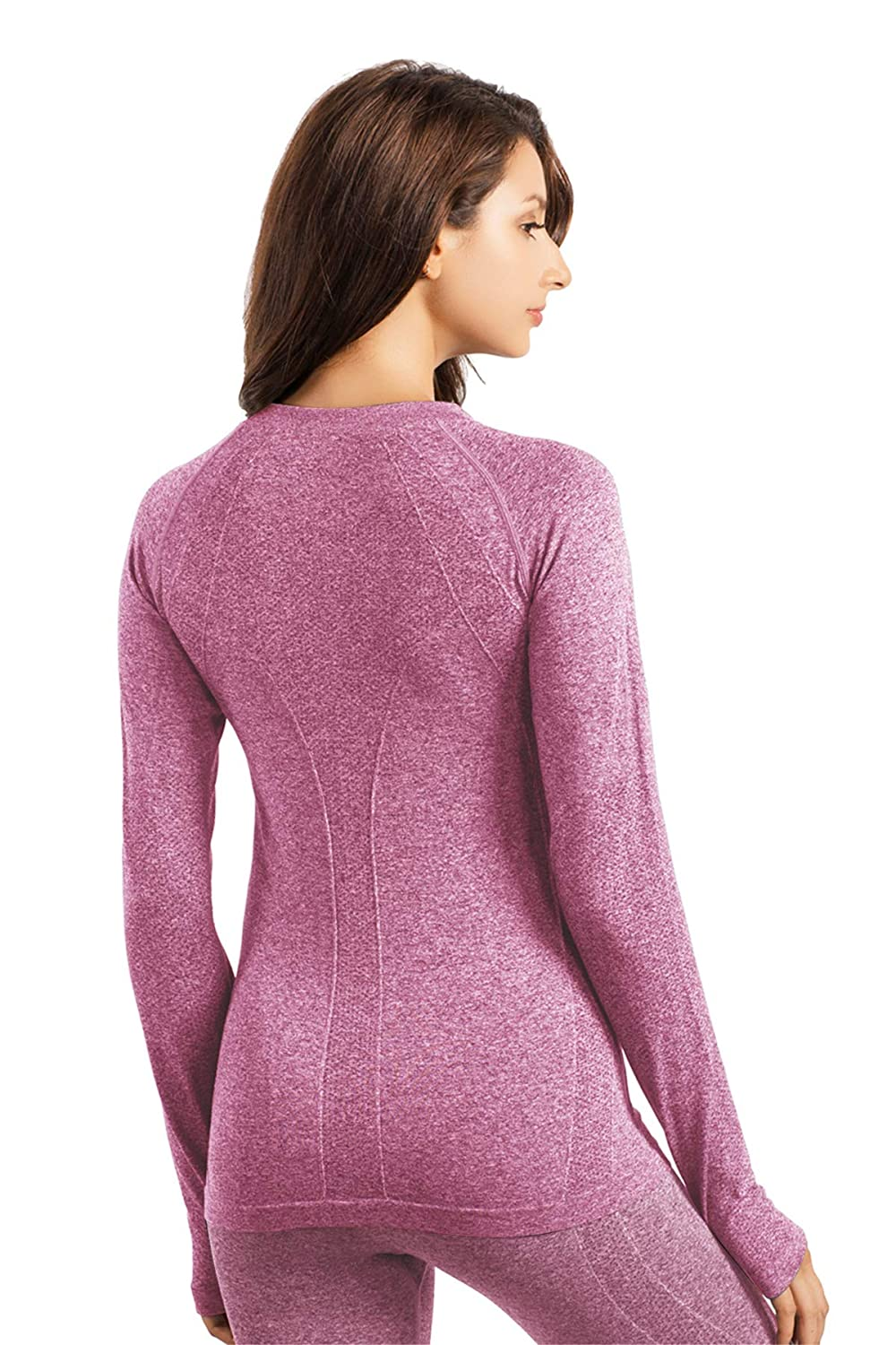 +MD Womens Seamless Crew Neck Long Sleeve T-Shirt Thumb Hole Thermal Underwear Shirt Base Layer Top Tee