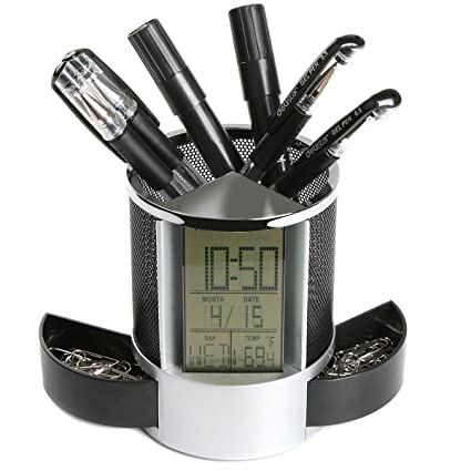 Kopper� Black Digital LED Desk Alarm Clock Mesh Pen Pencil Holder Calendar Timer Temperature