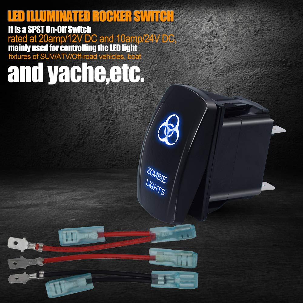 5pin Stop Lights Laser Rocker Switch Blue T-Former Jumper Wires ON-OFF LED Light 20A 12V