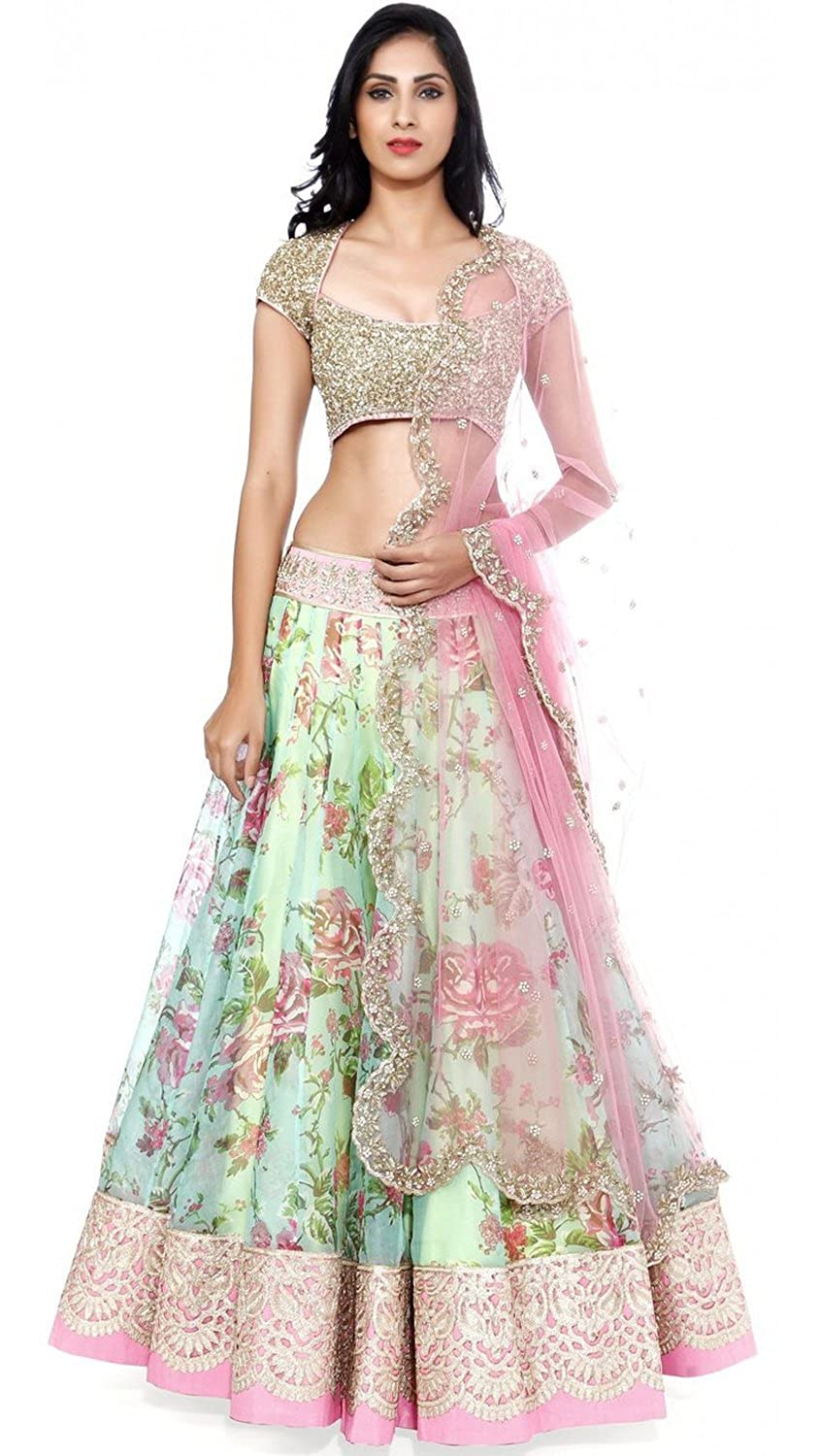 dbe7a2b8be Clickedia Women's Net Lehenga (Fogg White Pink Lehenga_Free Size_White Pink):  Amazon.in: Clothing & Accessories