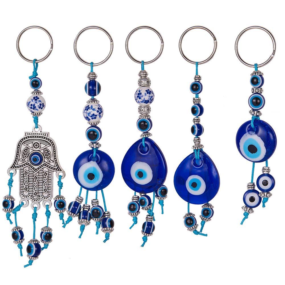 S/éparateurs Perles Fil de Coton cir/é SUNNYCLUE DIY 5PCS Kit de Fabrication de Porte-cl/és Evil Eye Include, Perles de Mauvais /œil Perles Assorties Connecteur de Charme de Main Hamsa