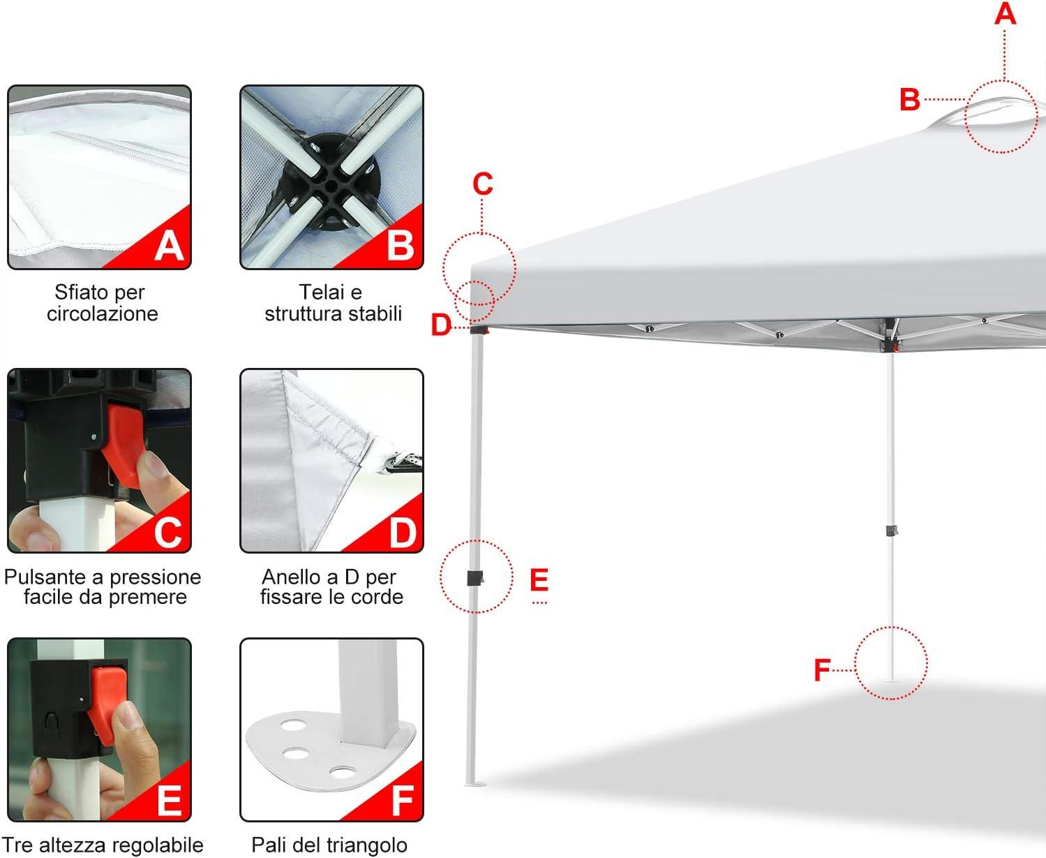 Hikole Gazebo 3x3 Pieghevole Gazebo Esterno Impermeabile Tenda da Gazebo Giardino con 4 Pareti Laterali e 4 Borsa per Contrappeso