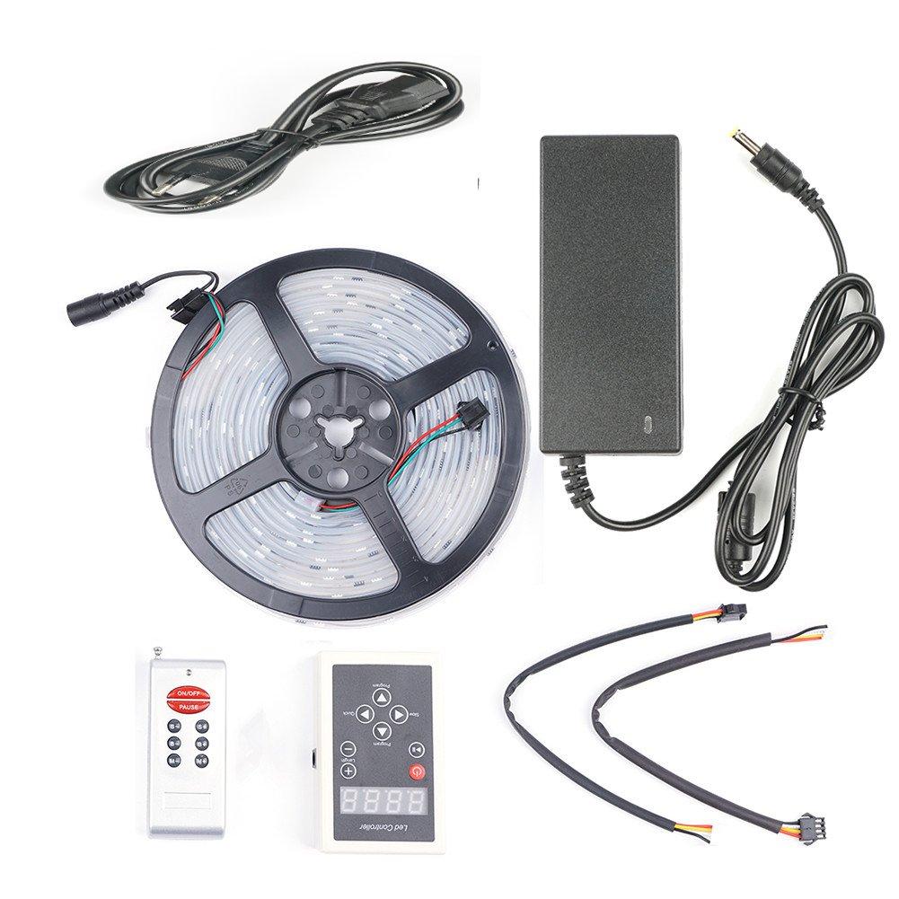 LED Striscia RGBW(RGB+Bianco freddo) Luminosa 5M 5050SMD 300 led Impermeabile Illuminazione Flessibile LED Nastri + 40 Tasti Telecomando + Alimentatore 12V 5A per Interno e Esterno Decorazioni
