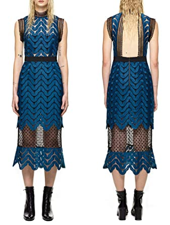 86383881450d Thankstop dress Self Portrait Style 2018 New Tops Lace Mesh Patchwork  Runway Dresses at Amazon Women's Clothing store: