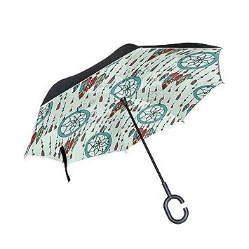 OKONE Paraguas Reversible de Apertura automática con Paraguas Compacto y Recto, Paraguas con atrapasueños Pintado
