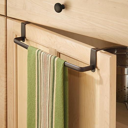 InterDesign Axis Toallero para paños de cocina, gran perchero para puerta en metal, toallero sin taladro para baño y cocina, bronce: Amazon.es: Hogar