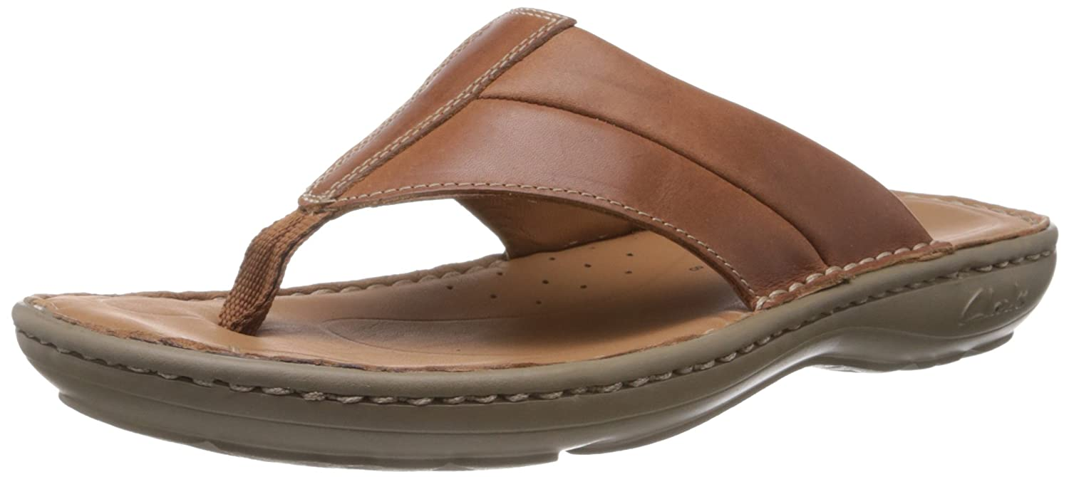 80b37b4b13fd Clarks Men s Villa Beach Mahogany Leather Flip-Flops and House Slippers-  6.5 UK  Buy Online at Low Prices in India - Amazon.in