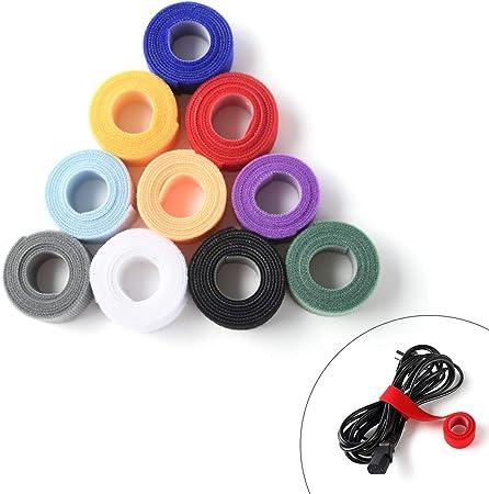 20Pcs Self Adhesive Magic Cable Cord Ties Management Organizer Tape HOOK /& LOOP
