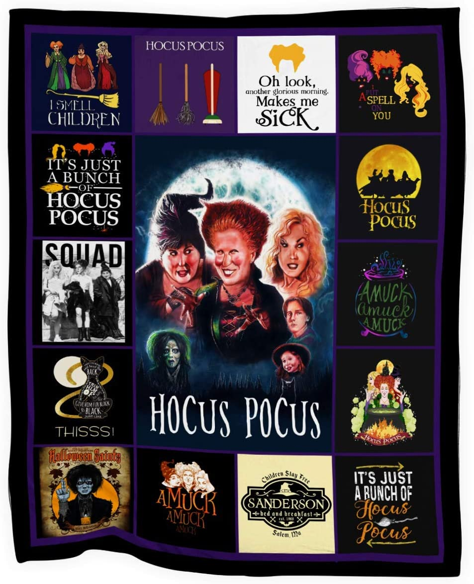 Awesome Shirt Gift MD21 Halloween Sanderson Sisters Hocus Pocus Movie Graphic Design Printed Soft Throw Cozy Fleece Blanket Large Size 50x60 INCH