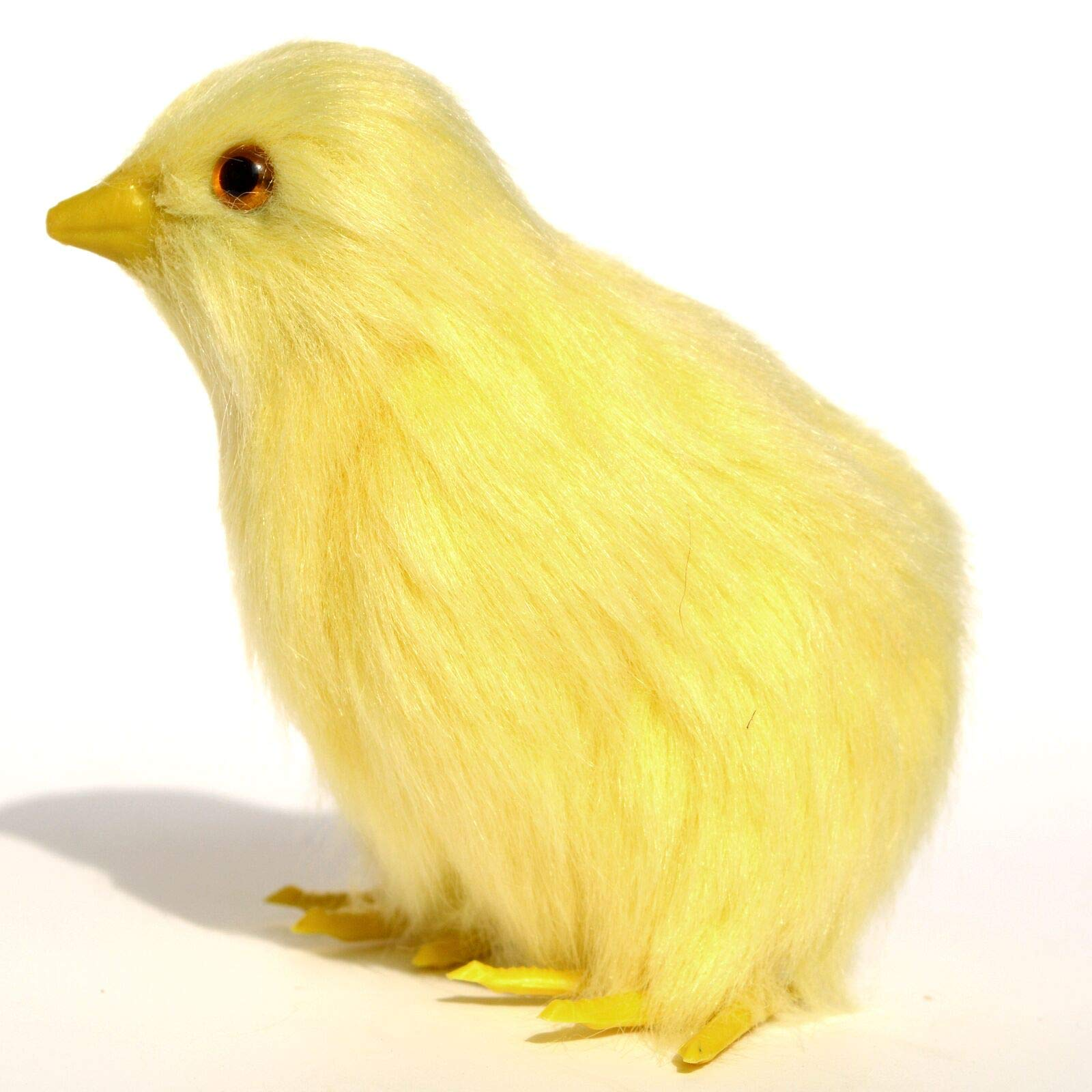 wisdomway*trade 4 pcs Spring Easter Chick Decor Realistic Lifelike Easter Yellow Baby Chick Plush Furry Animal Spring Decor Figurine Chicken Rabbit Fur Plush Animal Toy Easter Holiday Decoration