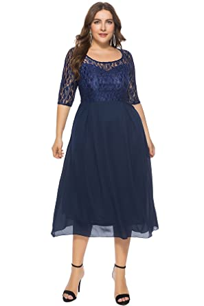 Amazon.com: MERRYA Women\'s Plus Size 3/4 Sleeve Floral Lace Chiffon ...