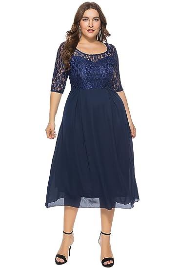 Amazon Com Merrya Women S Plus Size 3 4 Sleeve Floral Lace Chiffon