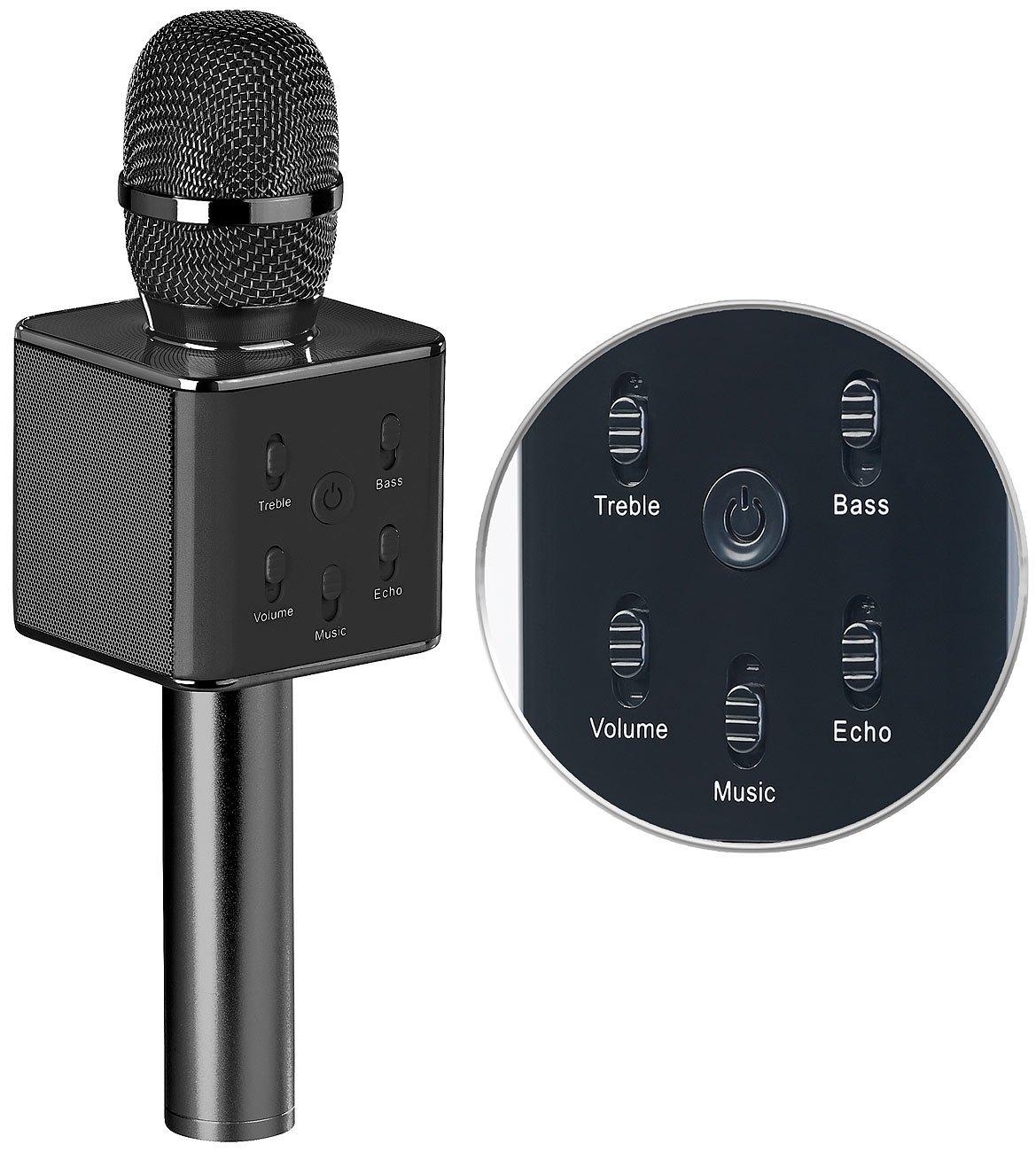 Microphone karaoké avec fonctions lecteur MP3 / haut-parleur / bluetooth Auvisio