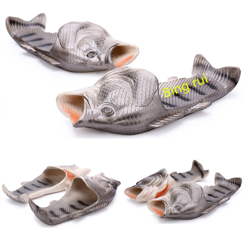 3 colors Fish slippers Beach Shoes Pool Non-slip Sandals Creative Hand painted Fish Slippers Men and Women Casual Shoe Beach and home use (Silver, woman (8.5-9.5) / Male (7-8))