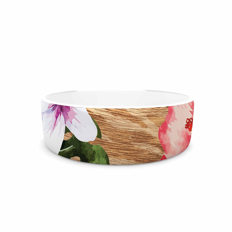 KESS InHouse NL Designs Vintage Tropical Jungle  Pink Floral Pet Bowl, 7
