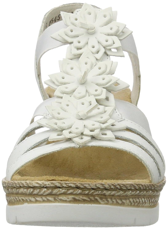 Rieker Damen 61949 Offene Sandalen mit Keilabsatz, Weiß (Weiss Bianco 80) dcc0492821