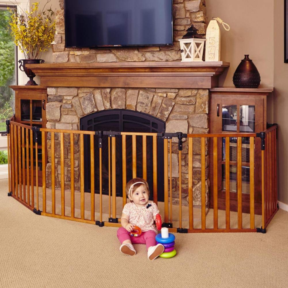 Toddleroo by North States 3-in-1 Wood Superyard 151 Long Extra-Wide gate, Barrier or Play Yard. Hardware or freestanding. 6 Panels, 10 sq.ft. Enclosure 30 Tall, Stained Wood