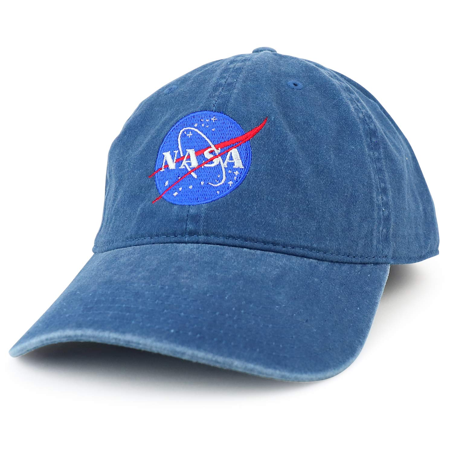 2ff07a72d22 Armycrew XXL NASA Insignia Logo Pigment Dyed Unstructured Baseball Cap -  Black - 2XL at Amazon Men s Clothing store