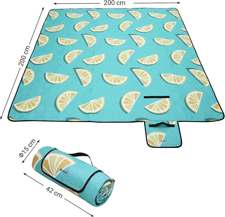 ext/érieur Pliable Lavable en Machine Cour pour Camping Parc Tapis de Plage Motif Citron GCM87YJ 200 x 200 cm SONGMICS Couverture de Pique-Nique Surface imperm/éable
