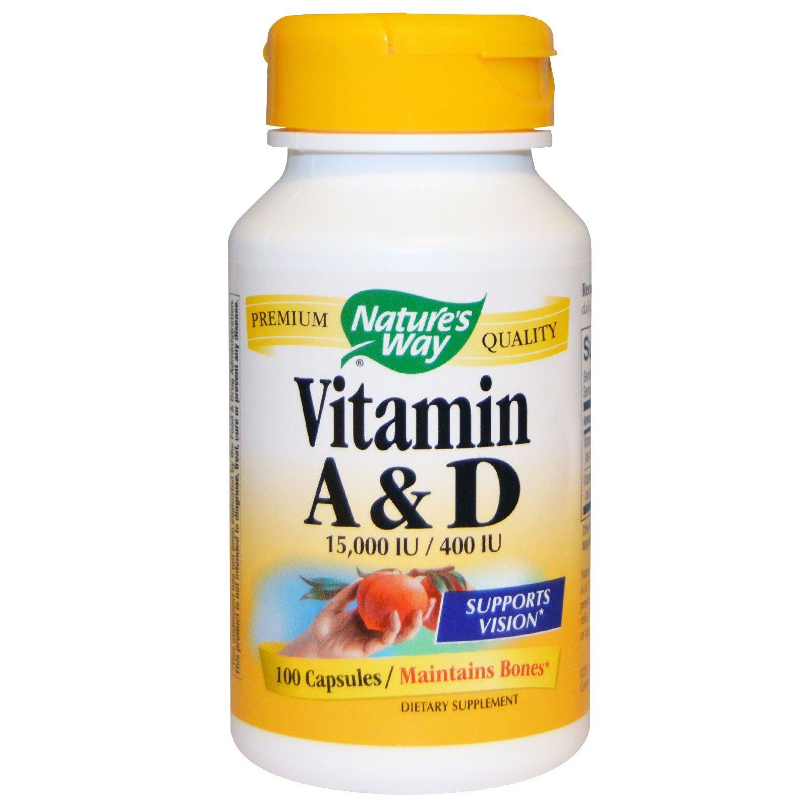 Nature's Way - Vitamin A and D, 15,000 IU / 400 IU, 100 Capsules