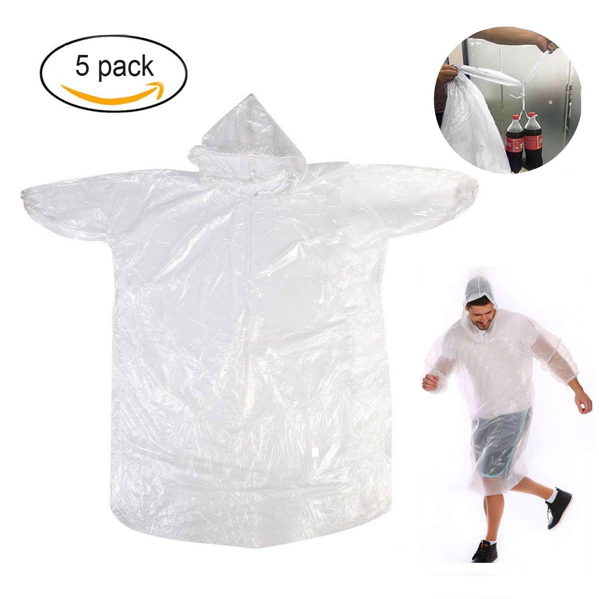 TopWill Disposable Rain Poncho, 3 Wire Thickness Emergency Waterproof Poncho Plastic Rain Poncho with Hood - Perfect for Outdoor Concert Theme Park Camping Hiking, etc