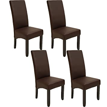 Pack de 4 sillas Osaka Color wengué de salón Comedor de Polipiel ...