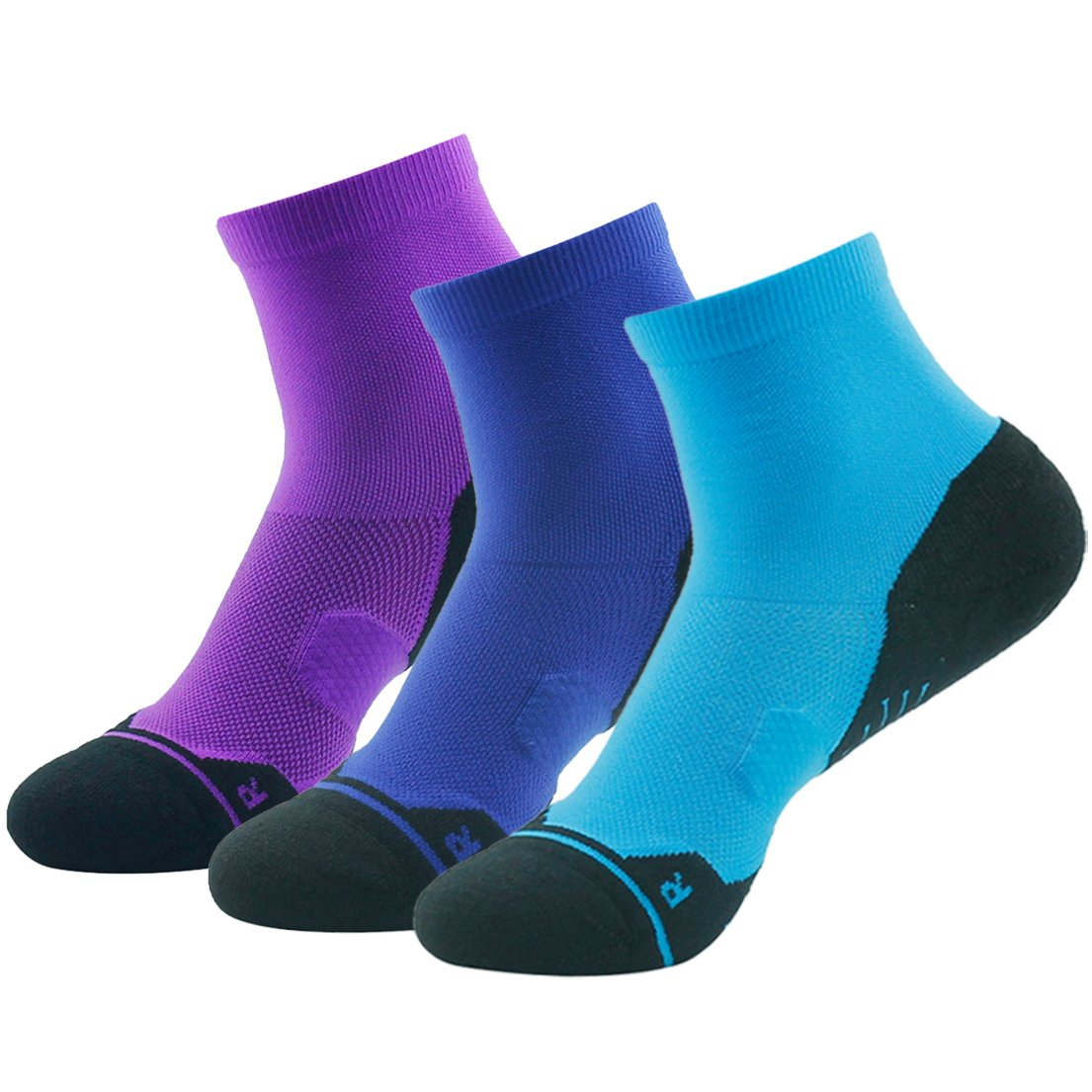 Z3 Pair bluee&purple&navy bluee Running Socks Support, HUSO Men Women High Performance Arch Compression Cushioned Quarter Socks 1,2,3,4,6 Pairs