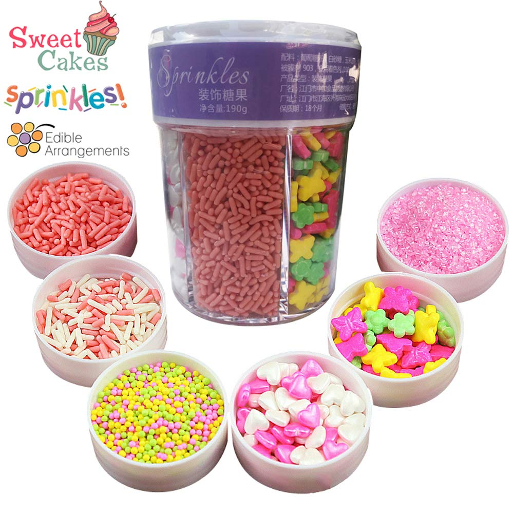 6 Color Decorazione di torte cupcake Cookie Sprinkles commestibile torta decorazioni per Natale San Valentino 190g Christmas Pasqua