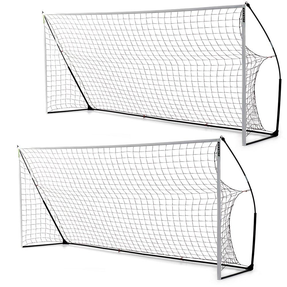 クイックプレイ ポータブル サッカーゴール 少年サッカー8人制サイズ 4.9m×2.1m 2台セット プレゼント付き 組み立て式 B00H7HZZRC