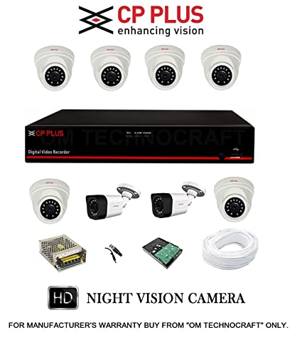 CP PLUS 8 HD CCTV Cameras and 8Ch  HD DVR Kit with 2 TB Hard Disk + All  Accessories