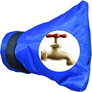 Home-X Outdoor Tap Water Faucet Cover, Pipe Protection for Winter, Faucet Cover, Summer Garden Faucet Bag, Waterproof and Rustproof Protection Bag, Outside Tap Cover-Blue