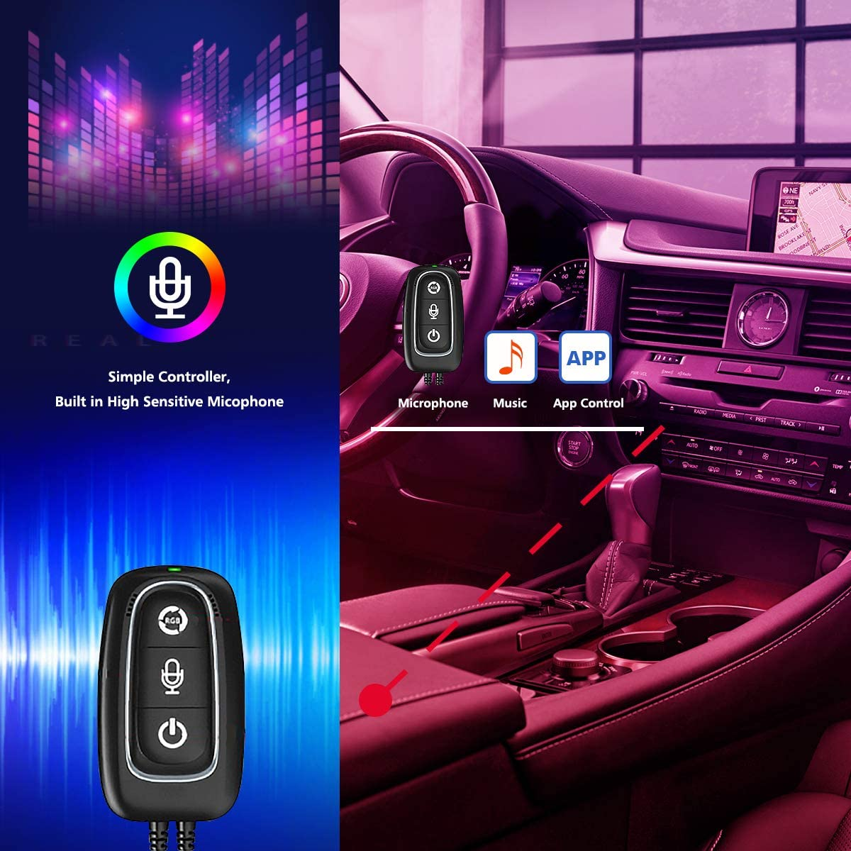 Interior Car Lights,LED Strip Lights for Cars Upgrade Two-Line Design Waterproof APP Controller Lighting Kits with Wireless Remote Control /& Music Sensor DC 12V