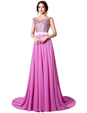 Amazon.com: Sarahbridal Women\'s Long A-line Chiffon Beaded Prom ...