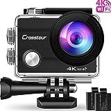 Crosstour Action Camera 4K Wifi Underwater 30M with 2 Batteries IP68 Waterproof Case