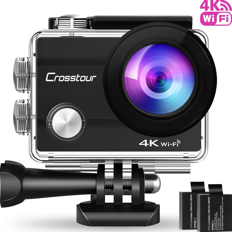Crosstour Action Cam 4K Wifi Sports Kamera Helmkamera 30M Wasserdicht Unterwasserkamera Ultra HD 2 LCD 170° Weitwinkelobjektiv mit 2 Batterien und kostenlose Accessoires VC-CT8000-UK