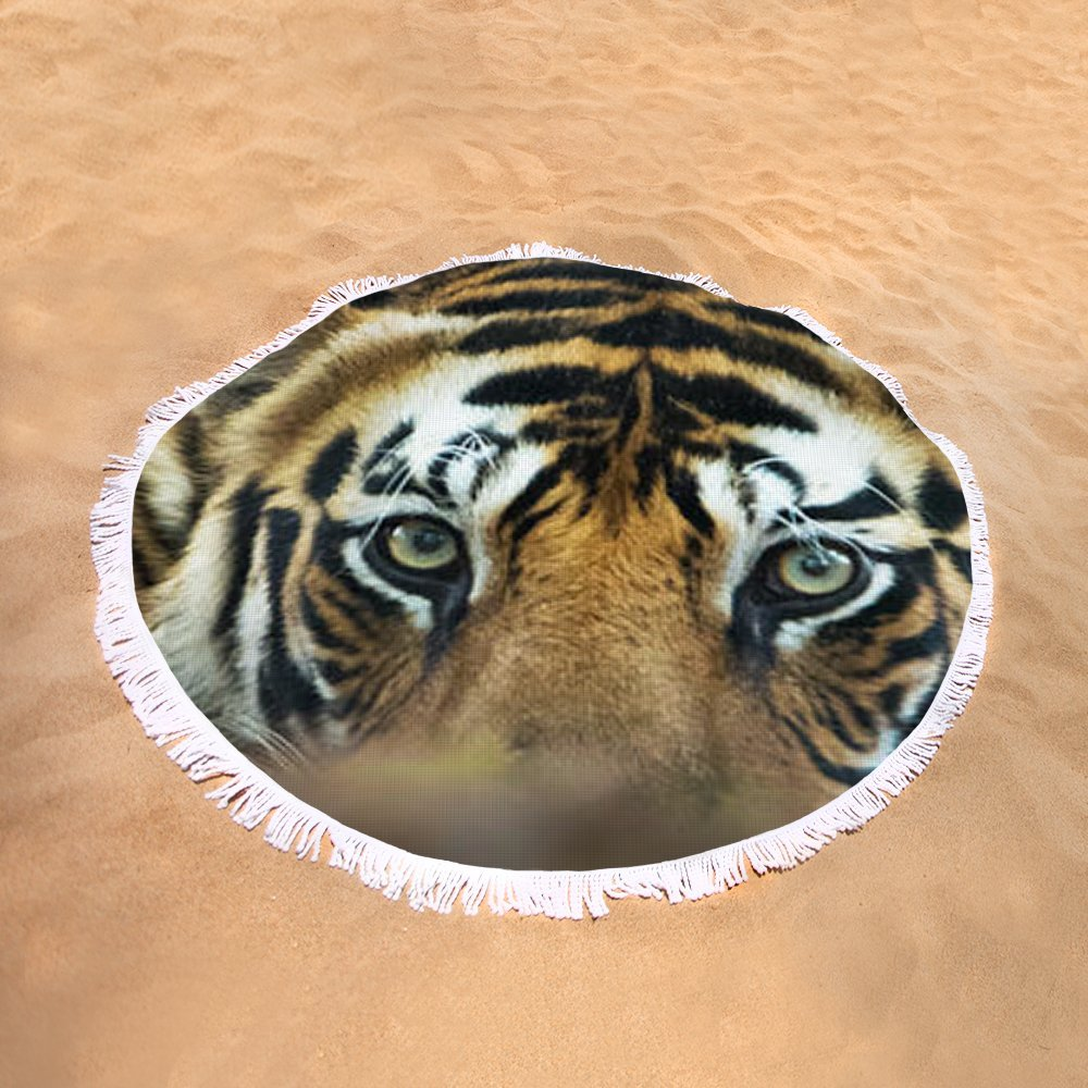 Pixels Round Beach Towel With Tassels featuring ''Bengal Tiger Panthera Tigris Tigris'' by Pixels
