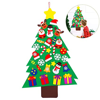 Amazon.com: Unomor Felt Christmas Tree Set with 31pcs Ornaments for ...