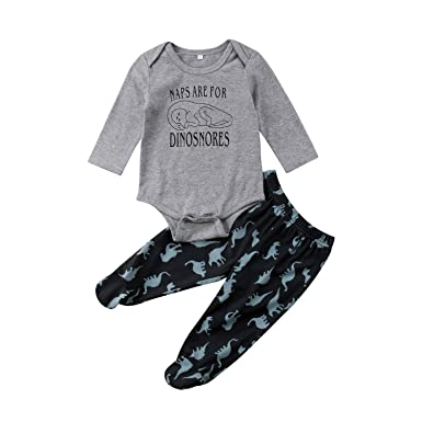 49370ff64ab Amazon.com  2PCS Newborn Toddler Baby Boys Girls Gray Dinosaur Romper Tops+Pants  Set Cotton Kids Outfits Autumn  Clothing
