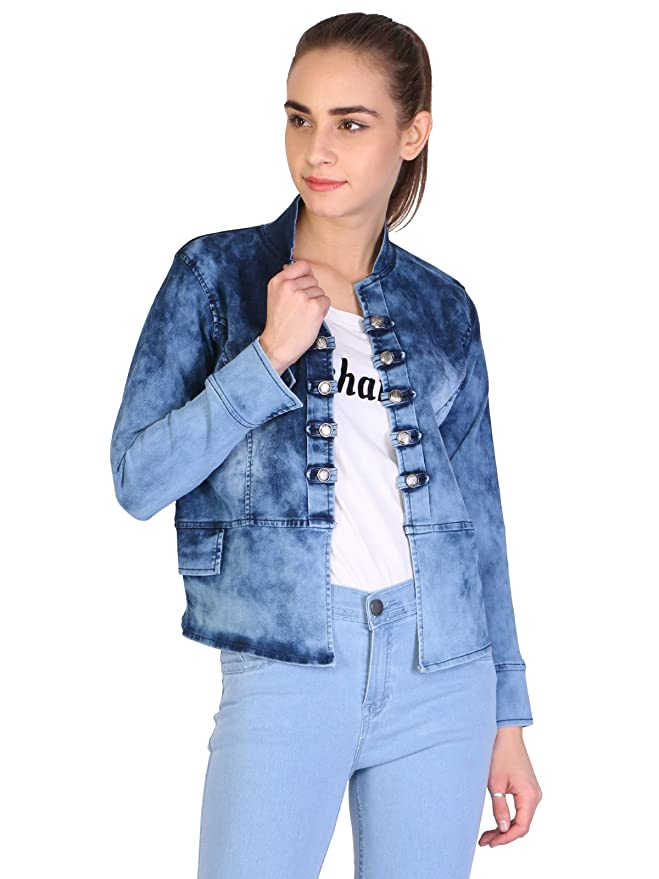 Broadstar Blue Printed Full Sleeves Denim Jacket for Women