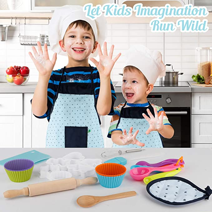 Vanmor Cute Kids Cooking and Baking Set 24 Pcs Toddler Apron and Chef Hat Girl