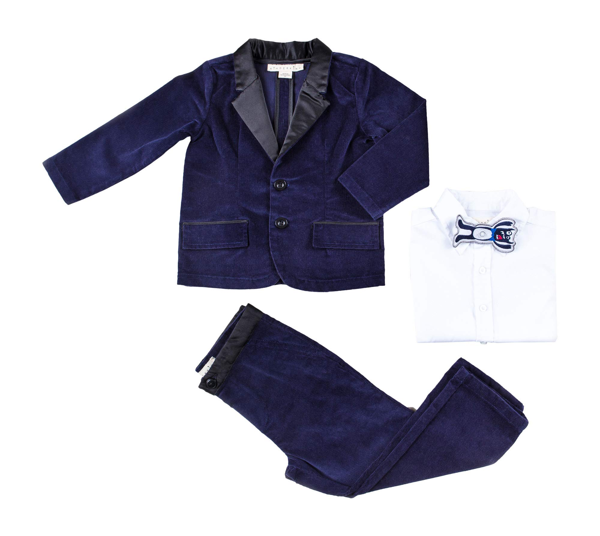 Kinderkind Kids Toddler Boy 3 Piece Corduroy Jacket Set with Monster Bow Tie: Sizes 2T-3T-4T-5T