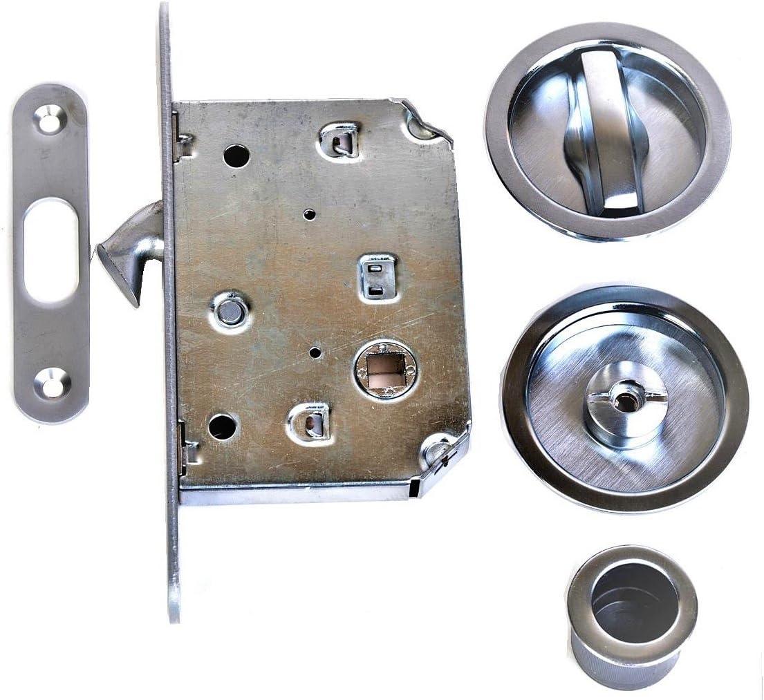 KLOSE besser 372 Juego de cerraduras para puertas correderas de galandage, color acero inoxidable: Amazon.es: Bricolaje y herramientas