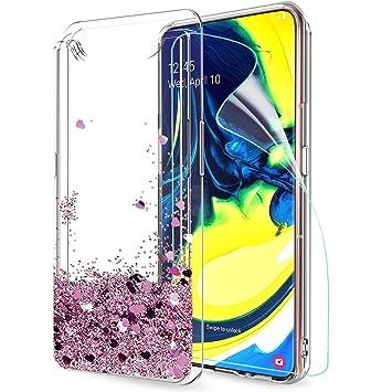 LeYi Funda Samsung Galaxy A80 Silicona Purpurina Carcasa con HD Protectores de Pantalla Transparente Cristal Bumper Telefono Gel TPU Fundas Case Cover ...