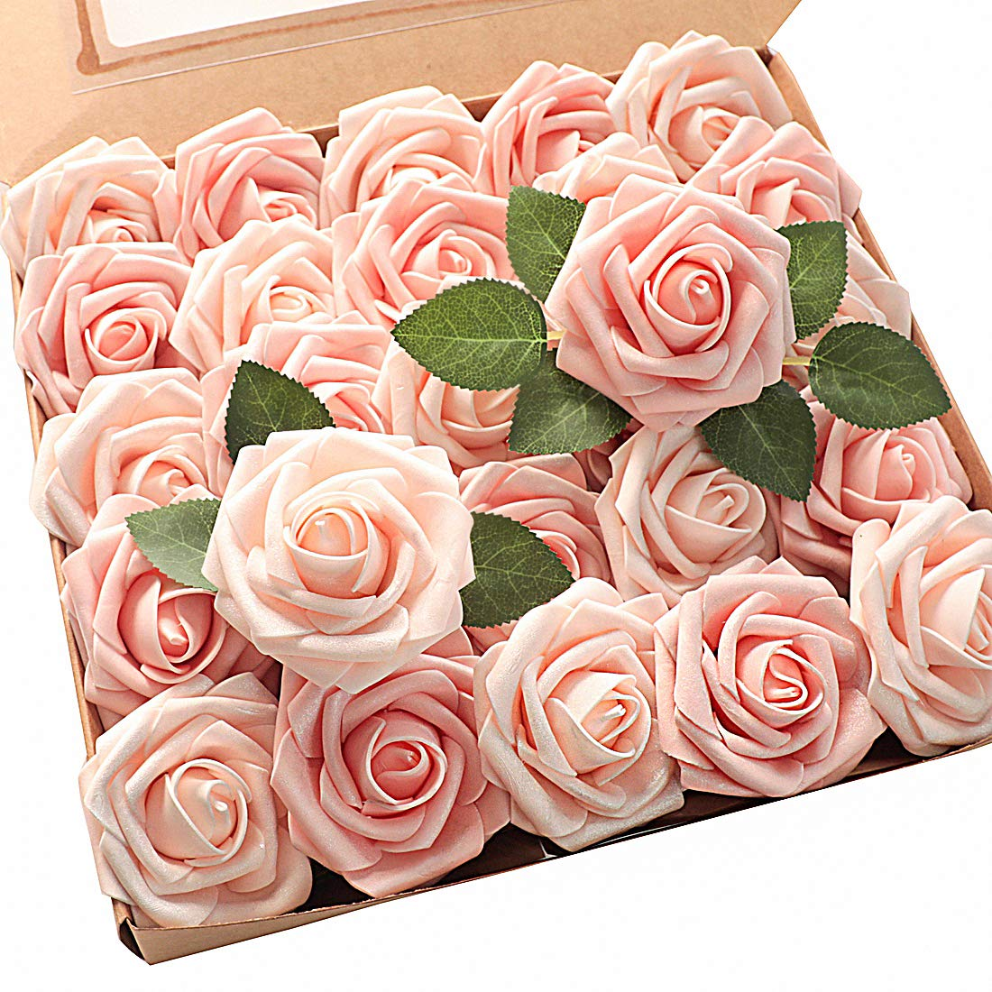 Floroom Artificial Flowers Shimmer Blush & Peach Roses 25pcs Real Looking Fake Roses w/Stem for DIY Wedding Bouquets Centerpieces Arrangements Party Baby Shower Home Decorations