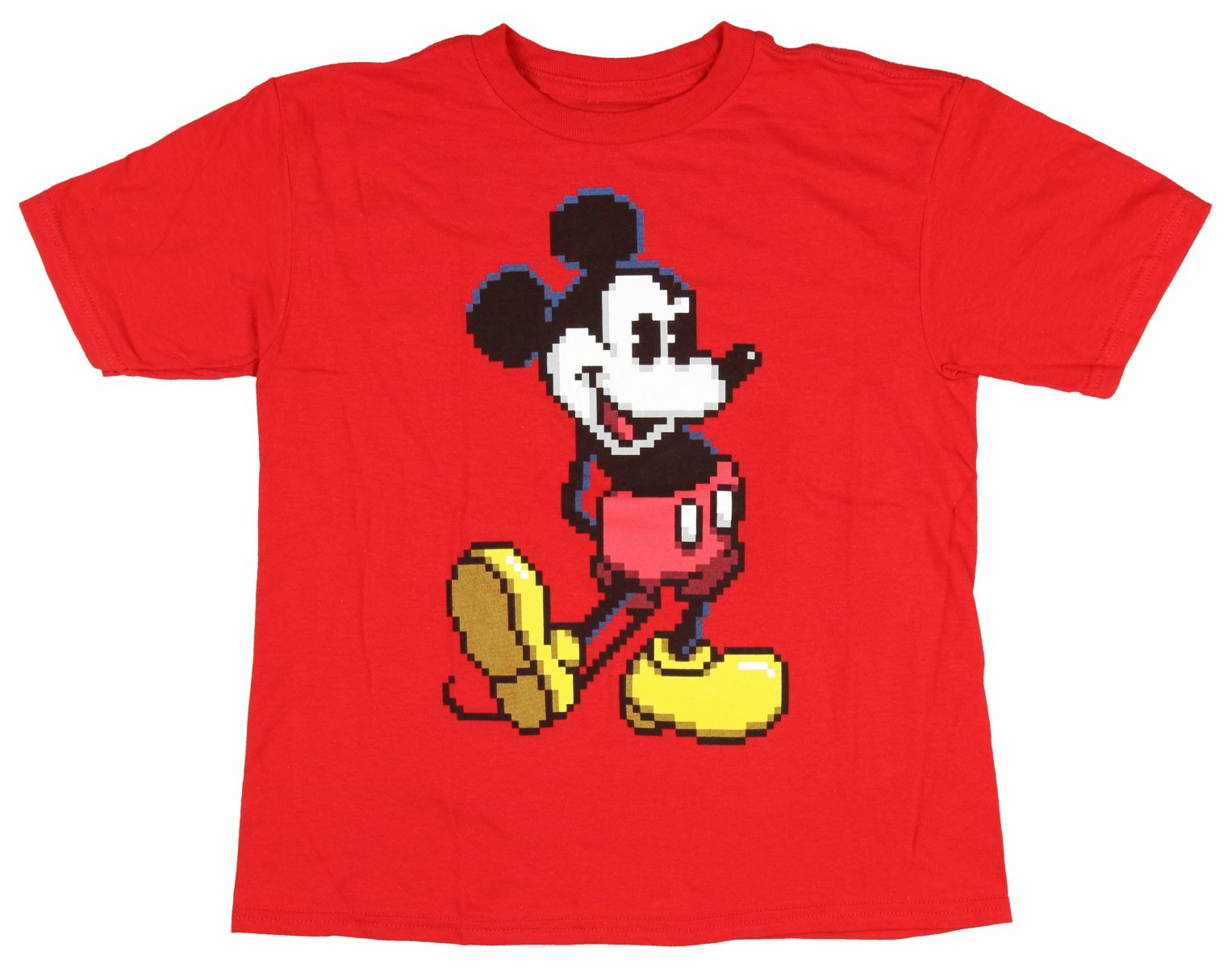 Disney Mickey Mouse Retro Style Pixel Boys Graphic Tee (Large)